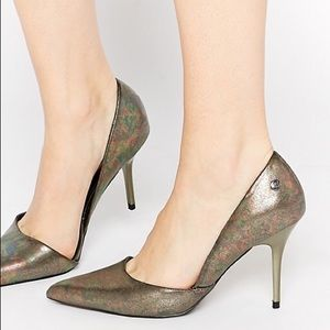 Blink Patent Metallic Pointed Toe Heeled Court